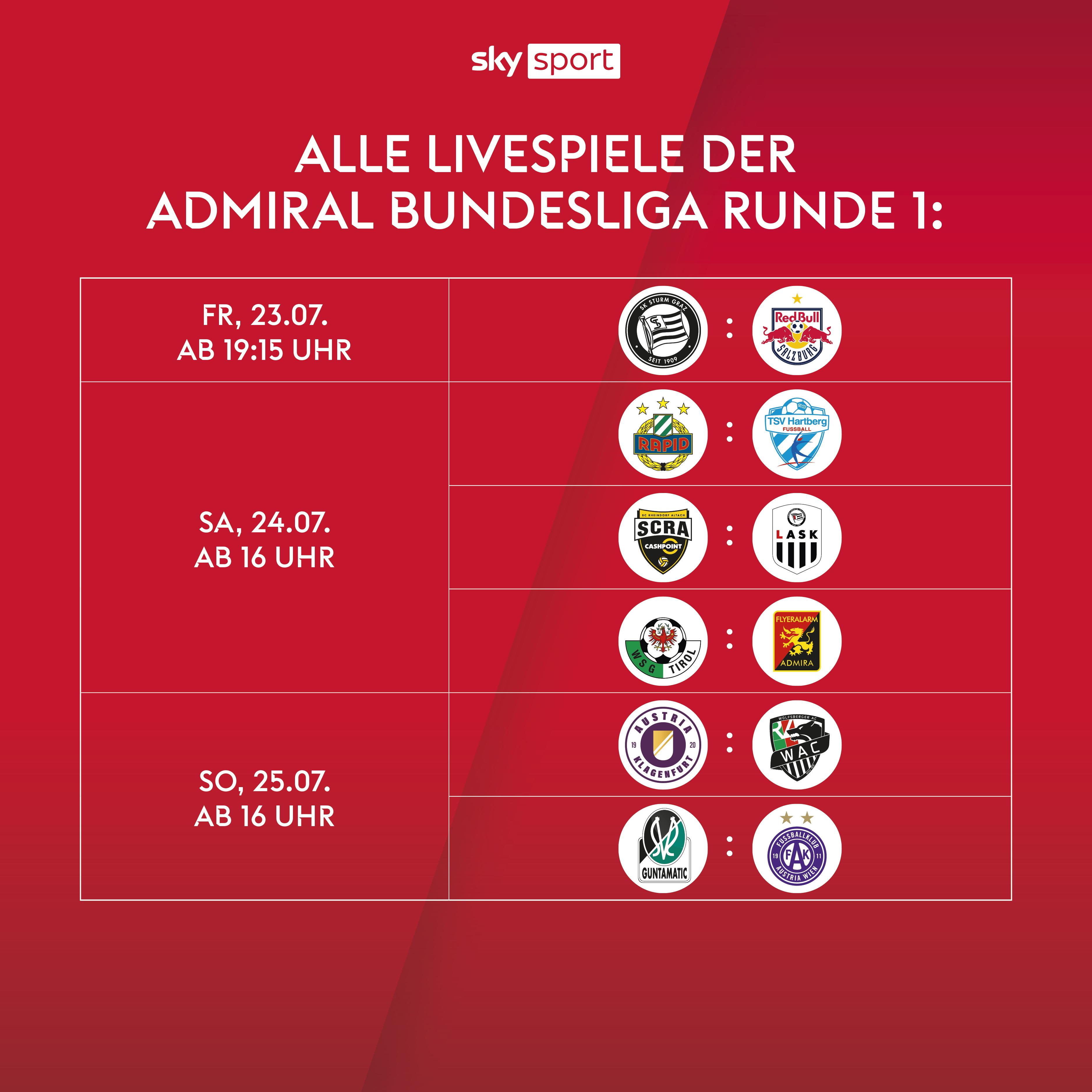 Die ADMIRAL Bundesliga live streamen mit Sky X
